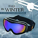 OTG Ski Goggles,for Men Women Adult,Skating Snowboard Eyewear Use Dual PC Uv Proof Lenses with Mirror Coating Anti-fog - Helmet Compatible with Extra Long Adjustable Strap[BLACK]
