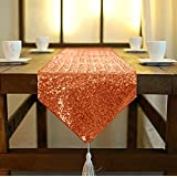 ShinyBeauty Shimmer Orange Sequin Table Runner Tassel 30x180cm, Glitter  Round Sequins Fabric For