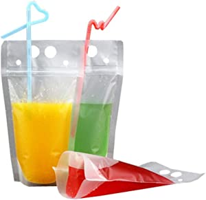50 Pack Drink Bags Stand up Reclosable Zipper Drinking Pouches Bags Hand-held Drinking Bags with Plastic Straw, 5.1 by 9.1 Inches 8mil