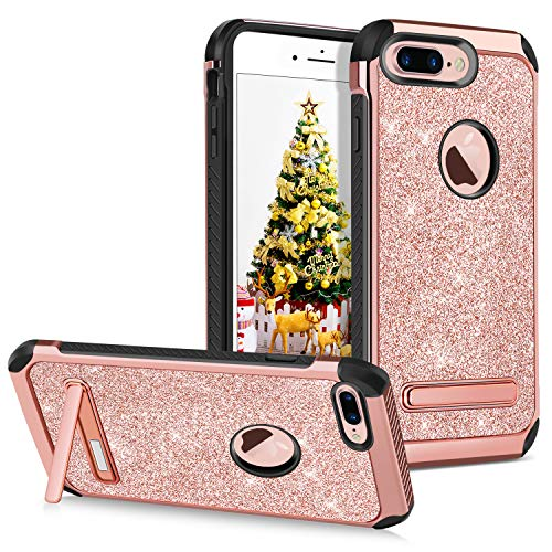 GUAGUA iPhone 7 Plus Case Kickstand Glitter Sparkly Pink Girl Women Slim Dual Layer Hybrid Hard PC Cover with Bling PU Leather Anti-scratch Shockproof Protective Phone Case for iPhone 7 Plus Rose Gold