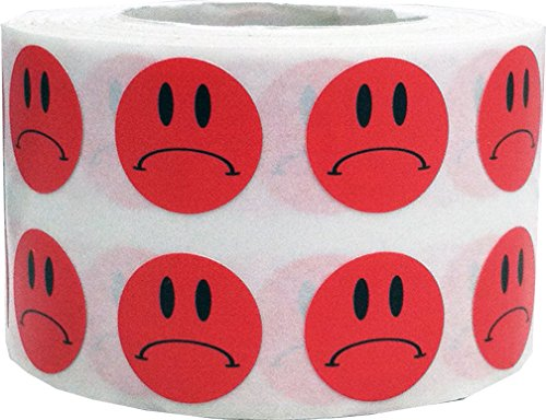 Frowny Face Stickers Red Sad Labels For Teachers 1/2 Inch 1,000 Adhesive Labels