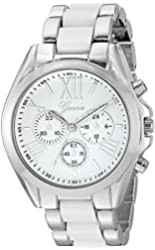 Geneva Women's GV/1000WTWT Multi-Function Dial Silver-Tone and White Bracelet Watch
