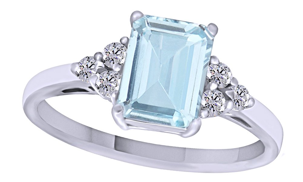 Simulated Blue Aquamarine & White Topaz CZ Fashion Ring in 14k White Gold Over Sterling Silver (1.67 Cttw)
