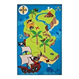 Flair Rugs Childrens/Kids Pirate Map Bedroom Rug (39.5in x 47.5in) (Multicoloured)