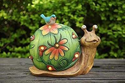 "Garden Statue Snail Figurine with Solar Powered Outdoor Lights for Indoor Garden Yard Decorations, 10""x8.5"", Housewarming Gift"