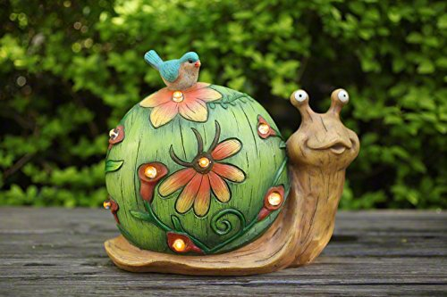 Garden Statue Snail Figurine with Solar Powered Outdoor lights for Indoor Garden Yard Decorations, Mothers Day Gift,10 inch (Statue Solar Light Garden)