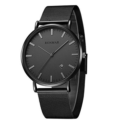 Ronmar 손목시계 경량 아연 합금 케이스 스테인레스제의 팔찌 30M방수 날짜 표시 남녀 겸용 블랙