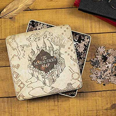 Paladone 5055964732943 Marauders Map Jigsaw Puzzle | 550 Pieces | Based on Harry Potter Series | Stored in Stylish Themed Tin, Multi: Toys & Games