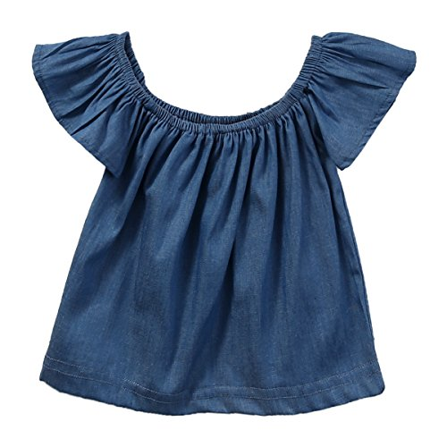 baby-girls-kid-short-ruffle-sleeve-denim-tops-t-shirts-outfits-2-3-years-blue