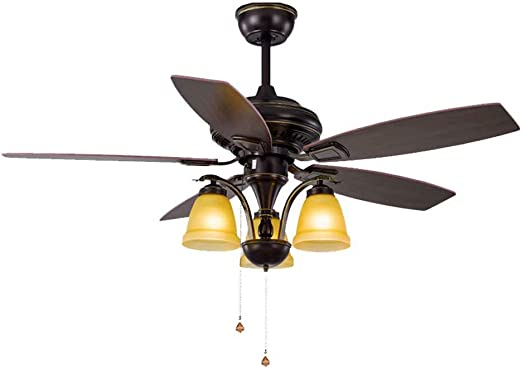 Paleta de viento Ventilador de techo Luz de estilo americano Ventilador de sala Luz de hoja de madera Retro Ventilador eléctrico Luz Ventilador moderno Lámpara (3 luces, interruptor de cuerda),Cordón: Amazon.es: Hogar