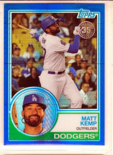 (Baseball MLB 2018 Topps 83 Chrome Silver Promo Series 3 Refractors Blue #141 Matt Kemp NM-MT 003/150 Los Angeles)