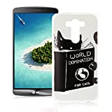 OuDu Silicone Case for LG G3 Soft TPU Rubber Cover Flexible Slim Case Smooth Lightweight Skin Ultra Thin Shell Creative Design Cover - World Domination for Cats