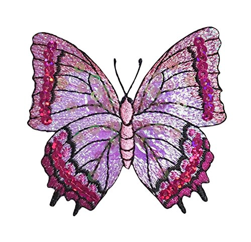 Fuchsia Pink Sequin Butterfly - Iron on Applique/Embroidered Patch