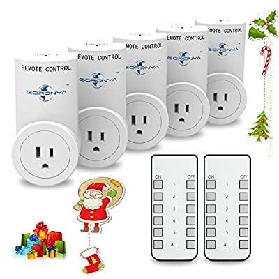 Goronya Wireless Outlet Switch with Remote,Electrical Plug Outlet Control for Household Appliance Lamp Light Etc