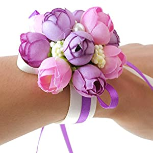 Wrist Flower, Wrist Corsage Hand Flowers Decor for Wedding Bridal Prom Party Accessories PS05 (Purple Wrist Flower) 116
