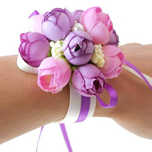 Wrist Flower, Wrist Corsage Hand Flowers Decor for Wedding Bridal Prom Party Accessories PS05 (Purple Wrist Flower)