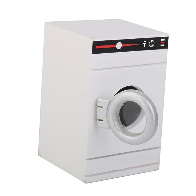 1/12 Lavadora Blanca en Miniatura Mueble Accesorio Decorativo para Casa de Muñecas