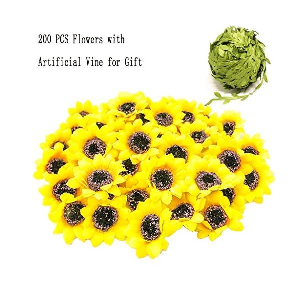 Lmeison 200pcs Artificial Sunflower Heads 1.8″ Silk Yellow Sunflower Fabric Floral for Baby Shower, Home Decor, Wedding Decor, Bride Holding Flowers, Garden Craft Art Décor, 32 Ft Artificial Vines