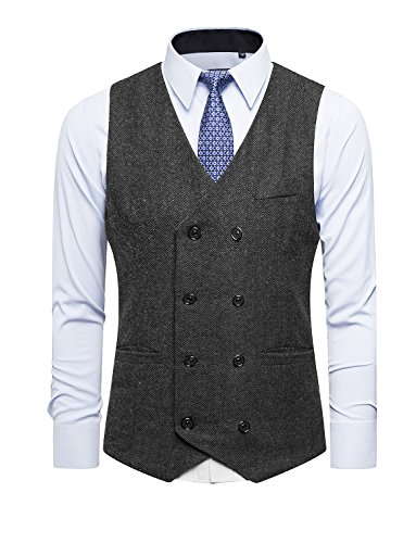 DAVID.ANN Men's Business Suit Vest Double Breasted Slim Fit Dress Waistcoat,Black,Medium Breasted Dress Coat