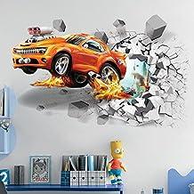 3D Car Broken Wallpaper Applique Wall Painting Vinyl Wall Stickers Mural Art Applique, Detachable, Home Decor for Bedroom (50 X 70 Cm)