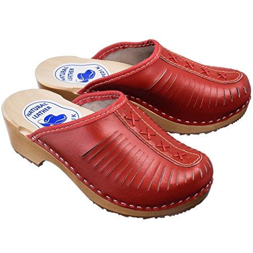 Estro Sabots Femme En Cuir Chaussures Hôpital Mules Femmes Orthopédiques Cdl01 Rouge