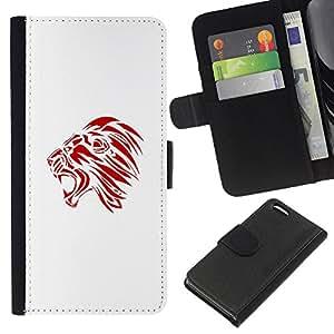 Red Rugido Bostezo minimalista Arte Decal- la tarjeta de Crédito Slots PU Funda de cuero Monedero caso cubierta de piel Para Apple iPhone 5C