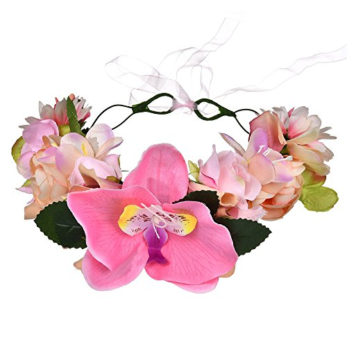 DreamLily Maternity Woodland Photo Shoot Peony Flower Crown Hair Wreath Wedding Headband BC44 (Style 15 Orchid Pink)