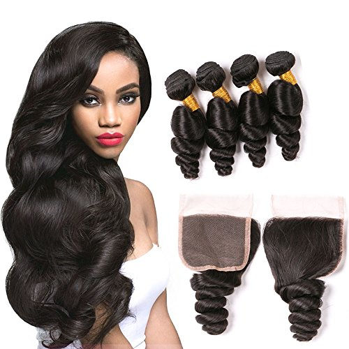 Peruvian Loose Wave Bundles With Closure Per Plucked Bleached Knots 4X4 Swiss Lace Top Quatily Brazilian Virgin Hair 4 Bundles Real Unprocessed Human Hair Weave Wholesale Deals 1B 20 22 24 26+18Inch