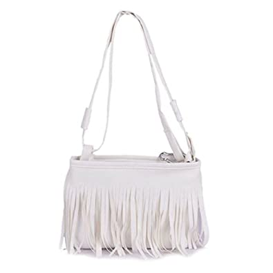 191427db6a09 Amazon.com  ForU-1 Crossbody Bags Shoulder Bag for Women Girls Fringe  Tassel Messenger Bag Hand Style Satchel Bag White  Shoes