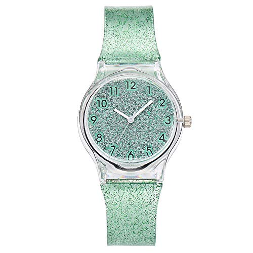 lightclub Glitter Women Girls Arabic Numbers Round Dial Silicone Band Quartz Wrist Watch - Green Watch for Women - Dial Green Light Silicone