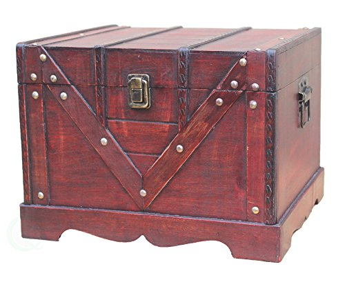 Vintiquewise Wooden Box Old Style Treasure Chest, Large ()