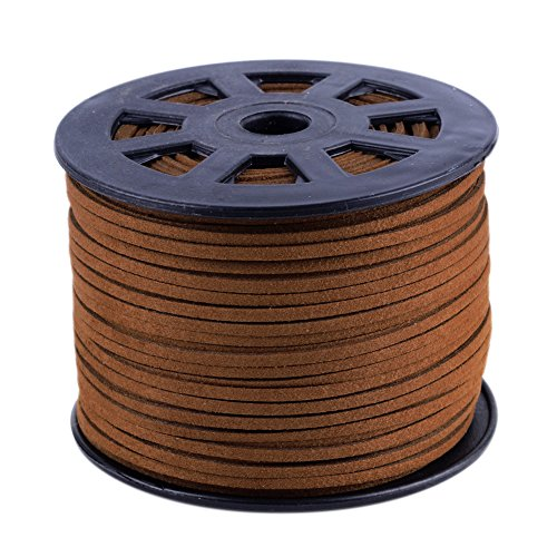 Advantage Leather Saddle - NBEADS 3mm Saddle Brown Micro Fiber Flat Faux Suede Leather Cords Strip Cord Lace Beading Thread Braiding String 100 Yards/Roll for Jewelry Making