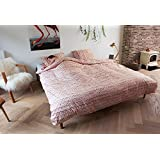 Yarn Duvet Cover and Pillowcase Set by SNURK (Pink, Full/Queen)