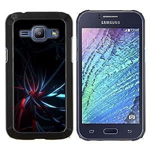 Stuss Case / Funda Carcasa protectora - Negro oscuro del trullo luces rojas - Samsung Galaxy J1 J100
