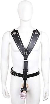 / Correas de arnés de cuero Cinturón Tanga Traje de castidad ...