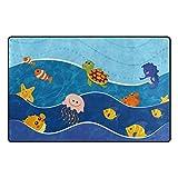 My Daily Sea Animals Cartoon Kids Area Rug 20'' x 31'', Door Mat for Living Room Bedroom Kitchen Bathroom Decorative Unique Lightweight Printed Rugs Carpet