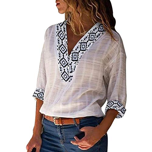 TIFENNY Women Nationality Print V Neck Print 3/4 Sleeve Cotton Linen T-Shirt Summer Casual Loose Blouse Tops Shirt -