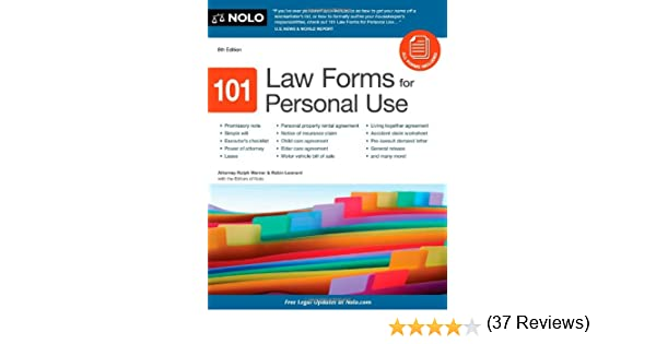 Amazon.com: 101 Law Forms for Personal Use (9781413316346): Robin ...