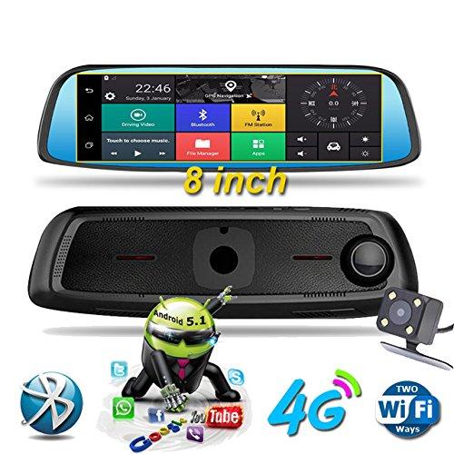 "CT-CARID 4G Car DVR Dash Cam 8.0"" TouchScreen GPS Navigati"