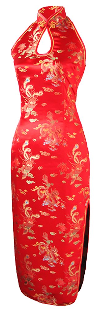 7Fairy Women's Wedding Red Dragon Halter Backless Long Chinese Dress Size 10 US