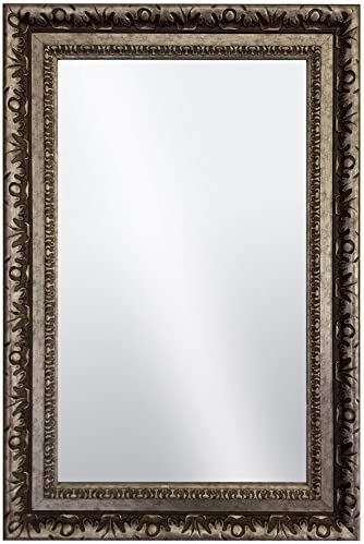 Raphael Rozen Hanging Framed Wall Mounted Mirror Vintage Antique Silver Brass Colored with Carvings for Bathroom, Vanity, Living Room, Dining Room, Kitchen, Bedroom, Office 35.5×45.5