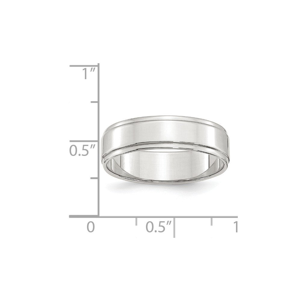 Solid 925 Sterling Silver 6mm Flat with Step Edge Wedding Band