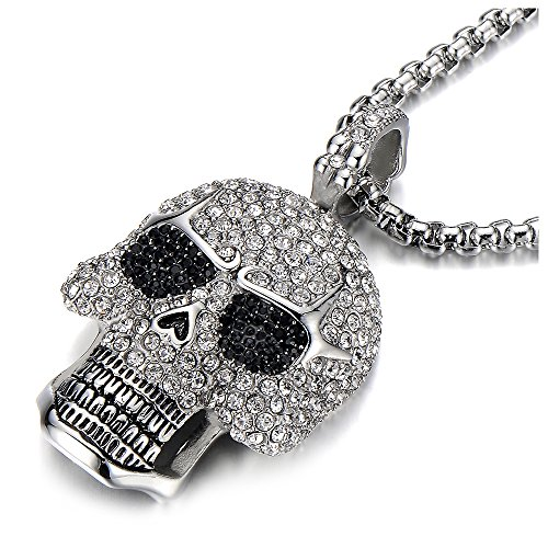 Steel Large Sugar Skull Pendant Necklace