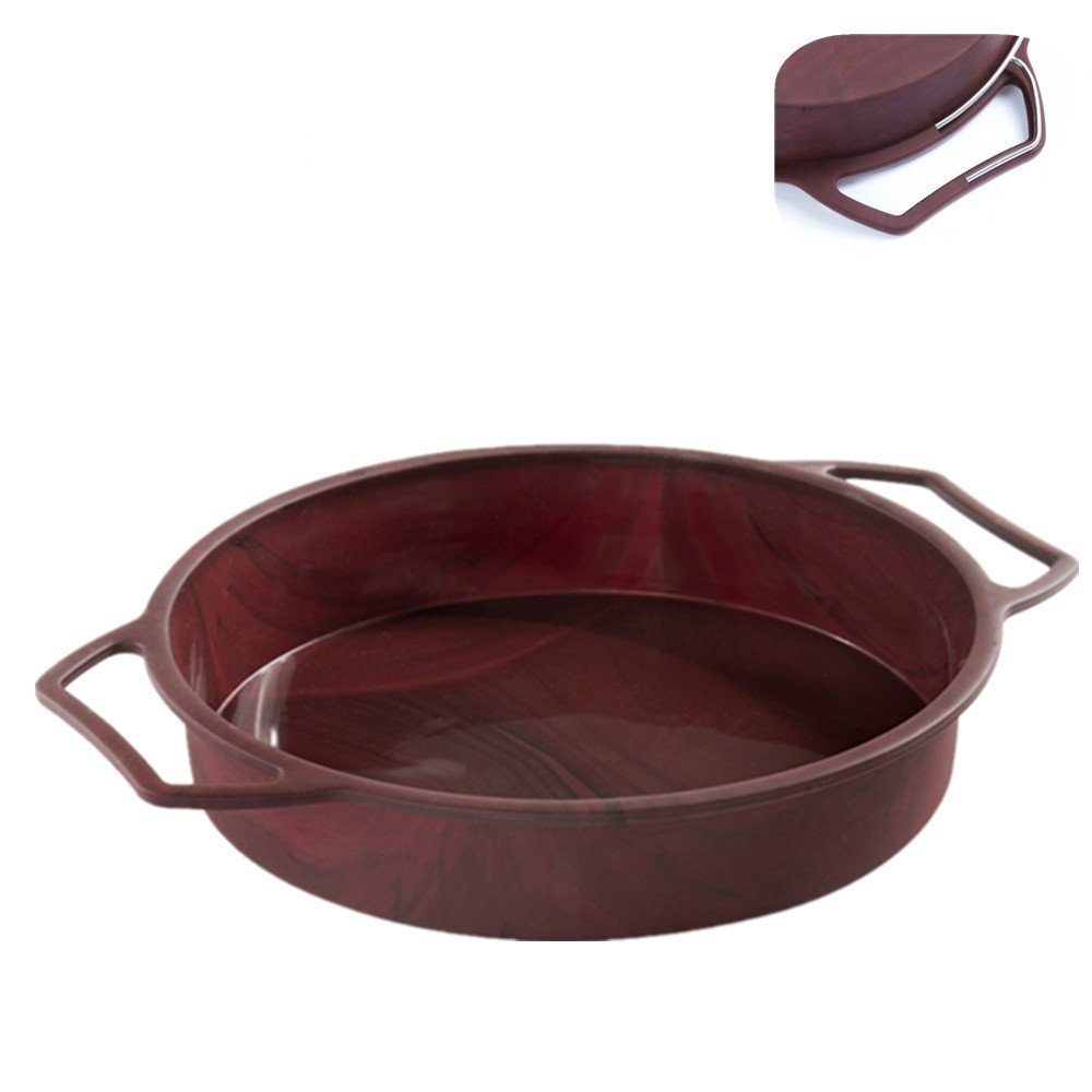 Round Cake Pan Baking Mold Large 9 Inch with Handles, Steel Frame to Anti-deformed | Silicone Baking Tray Mould Kitchen Baking Tool, 9.65'' 9.65''1.97''