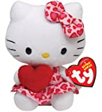 Ty Beanie Babies Plush Valentines Hello Kitty With Red Heart