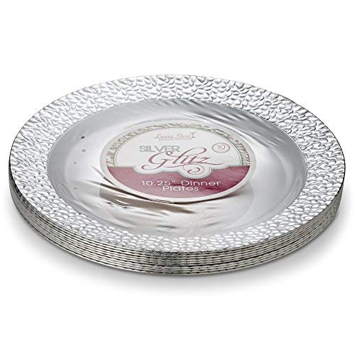 Silver Wide Border - Laura Stein Designer Tableware Premium Heavyweight 10'' Inch White Plate And Hammered Silver Border Plastic Party & Wedding Dinner Plates Glitz Series Disposable Dishes Pack of 40 Plates