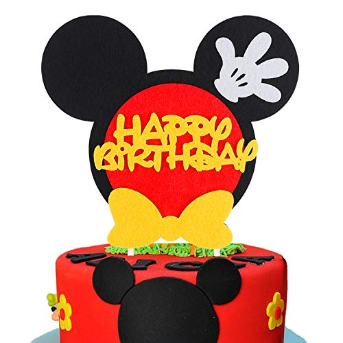 BeYumi Mickey Inspired Birthday Cake Topper, Happy Birthday First Birthday Cake Topper Party Cake Decoration Supplies for Boys and Girls]()
