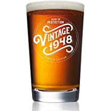 1948 70th Birthday Gifts for Men and Women Beer Glass - 16 oz Funny Vintage Pint Glasses for Decorations and Party Supplies - Seventy 70 Gift Ideas for Dad, Husband, Wife -Best Pub Craft IPA Mugs