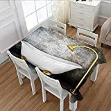 MartinDecor Retro Washable Tablecloth Vintage Bathtub in Room with Grunge Wall Lifestyle Resting Spa Theme Art Print Waterproof Tablecloths Grey White Gold 60''x104''