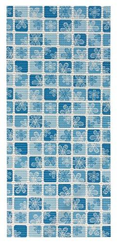 2-feet X 10-feet Foam Rubber Runner Rug | Blue Floral Mosaic Design Modern Floor Runner 2X10 -